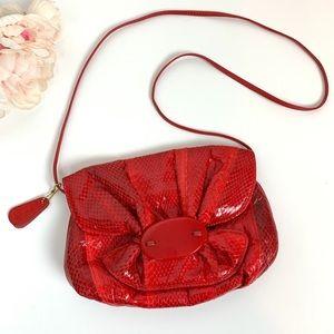 Vintage 80s red snakeskin purse/bag